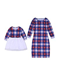 WIFORNT Mommy and Me Matching Plaid Long Sleeve Tulle Tutu Dress Family Outfits