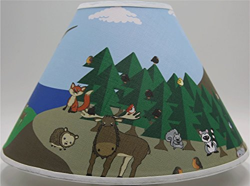 Presto Chango Decor Woodland Forest Animal Lamp Shade, Forest Animal Children's Nursery Decor With, Owls, Birds, Fox, Bear, Squirrel, Deer, Hedge Hog, Moose, Bunny Rabbit and a Raccoons - Woodland Shade Bulb