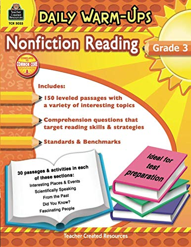 Teacher Created Resources Daily Warm-ups: Nonfiction Reading, Grade 3, 176 Pages (5033) ()