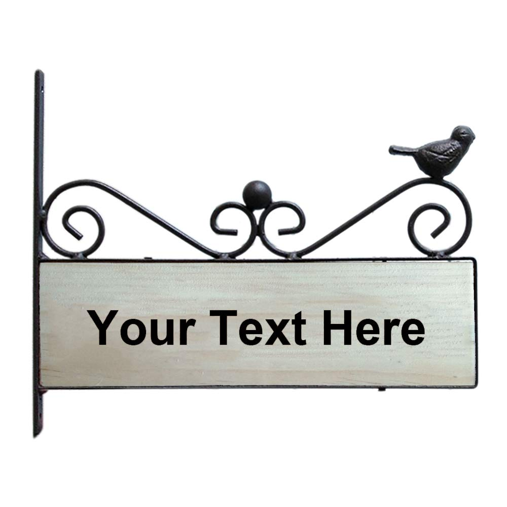 Aspire Customized Home Address Sign, Vintage Decorative Cast Iron Wooden House Hotel Cafe Pub School Number Sign, Personalized Double Sided Address Plaque-Black