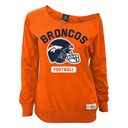 Outerstuff NFL Junior Girls Wide Receiver Long Sleeve Boat Neck Sweatshirt, Denver Broncos, Orange, - Broncos Orange Denver Sweatshirt