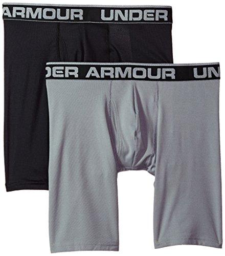 Under Armour Men's Tech Mesh 9'' Boxerjock – 2-Pack, Black (001), Medium by Under Armour