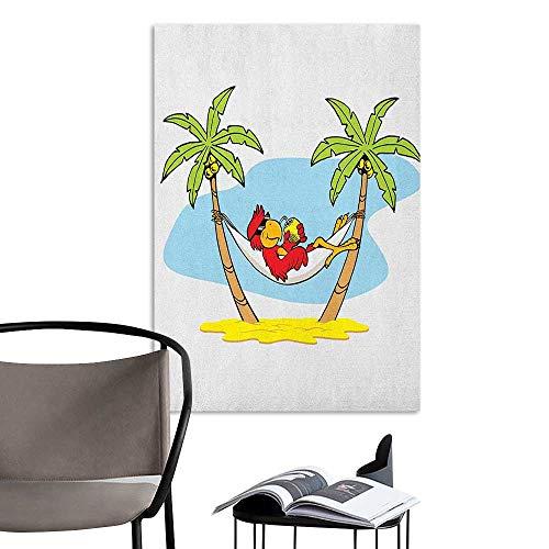 Wall Art Canvas Prints Beach Funny Illustration Parrot