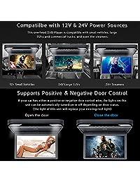 15.6 pulgadas Pantalla IPS digital 1080P Video Car Montaje en el techo Reproductor de DVD con monitor desplegable Monitor de DVD para Caravan SUV MPV Soporte USB SD HDMI, entrada salida AV, FM e IR transmisor (Negro)