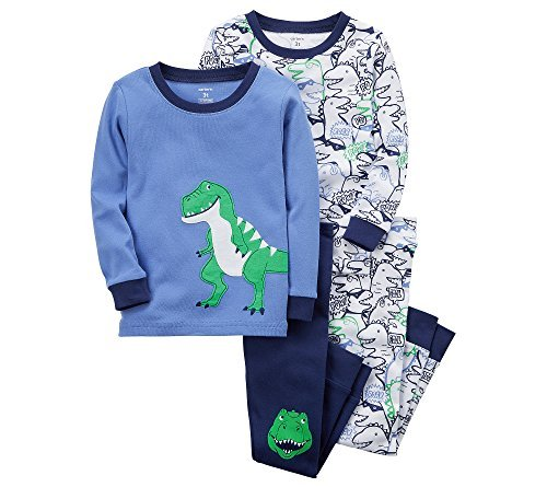 (Carter's Boys' 2T-5T 4-Pc. Dinosaur Snug Fit Cotton Pajama Set 6 Months)