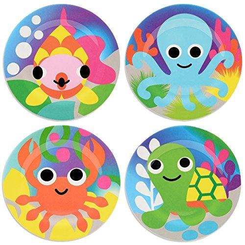 French Bull - BPA Free Children's Dinner Set - 8-Inch Melamine Kids Plate Set - Ocean, Set of 4 by French Bull