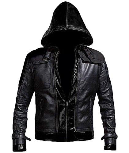 Superhero Bat Style Red Hood Men's Faux Leather Jacket + Vest (XX-Large, Black)