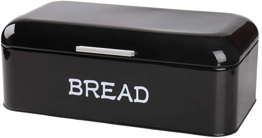 X384 Square Metal Large Kitchen Vintage Storage Tin Canister/Bread Box/Bin/Container/Holder/Holiday Gifts(Black)