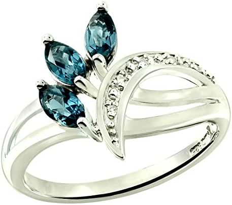 0.84 Carat London Blue Topaz with White Topaz Rhodium-Plated 925 Sterling Silver Ring
