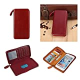DFV mobile - Executive Wallet Case with Magnetic Fixation and Zipper Closure for => BLU STUDIO 6.0 HD, D650A > Red