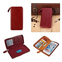 DFV mobile - Executive Wallet Case with Magnetic Fixation and Zipper Closure for => ACER LIQUID JADE Z, S57 > Red