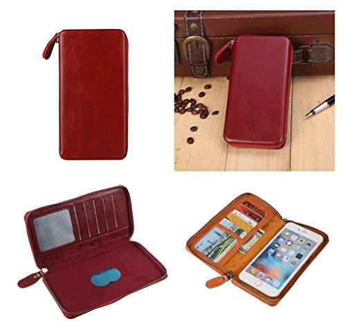 DFV mobile - Executive Wallet Case with Magnetic Fixation and Zipper Closure for => SPICE M-6688 FLO MAGIC > Red