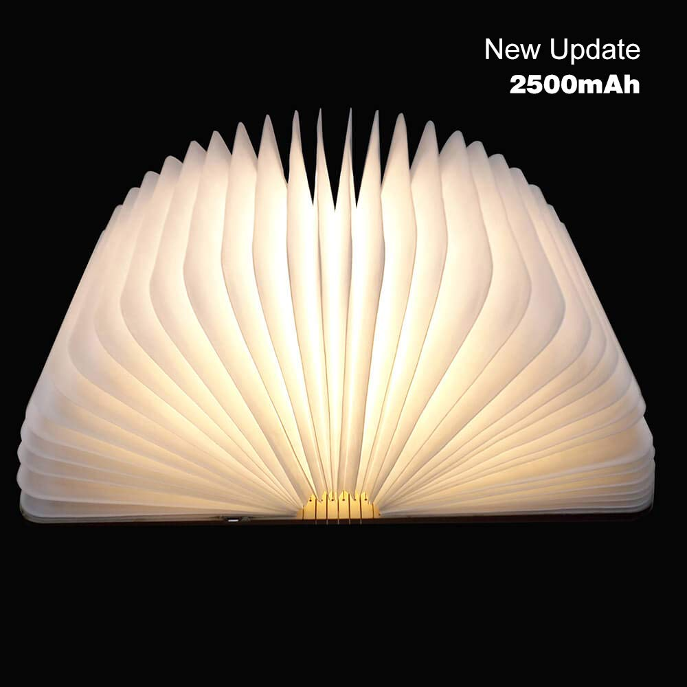 Wooden Folding Book Light, 2500mAh USB Rechargable Book Fold Light Led Desk Table Lamp for Decor, Magnetic Design Creative Gift for Kids Birthday Lovers Holiday (Warmwhite/Yellow Color)