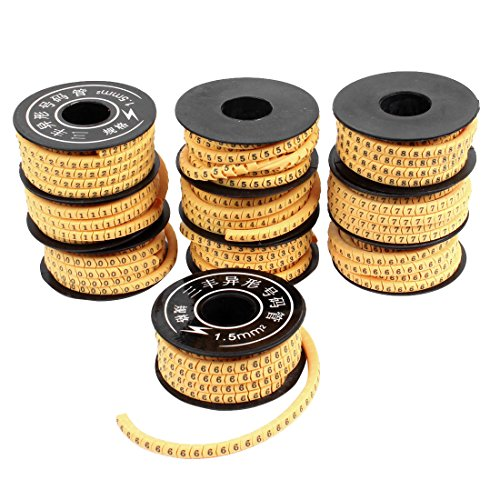 uxcell 10 Pcs Yellow Flexible PVC Number 0-9 Print 1.5mm2 Wire Cable Markers ()