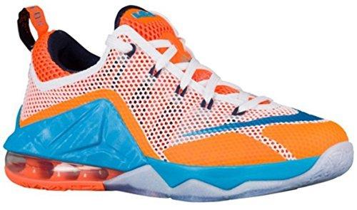 Nike Kids Lebron XII Low (GS) Basketball Shoe (6.5 M US Big Kid, White/Blue Lagoon/Midnight Navy/Total Orange)