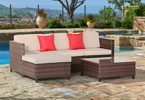 Ultra Poolside Cushion (Suncrown Outdoor Furniture Sectional Sofa (5-Piece Set) All-Weather Brown Checkered Wicker with Brown Seat Cushions & Modern Glass Coffee Table | Patio, Backyard, Pool | Incl. Waterproof Cover)