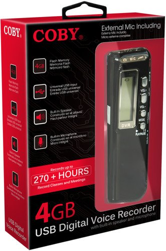 Coby CVR-20 USB Digital Voice Recorder with Built-in Mic, Voice Recorder ()