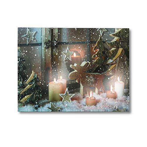 NIKKY HOME Deer Candles LED Lighted Christmas Pictures Canvas Wall Art Prints for Holiday ()