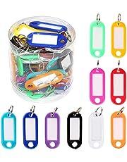 Gobesty - Etiquetas para llaves con etiquetas, 50 unidades, multicolores de plástico, llaveros de identificación con anillo dividido