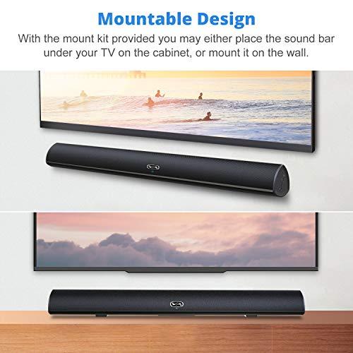 80 Watt Sound Bar, MEGACRA Surround Sound System TV Soundbar (IR Learning Remote, 3 Audio Mode,6 Speaker Driver, 34 inch, Wireless Wired Connections)