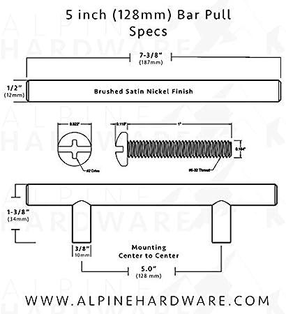 10Pack ~ 5 Kitchen Cabinet Hardware//Dresser Drawer Handles Polished Chrome Finish Solid Steel Bar Handle Pull Alpine Hardware 127mm Hole Center