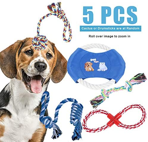 POSO Dog Rope Toy for Aggressive Chewers - Dog Rope Toys are Suitable for Small Medium and Large Dogs 5-Piece Set of Almost Indestructible Toys