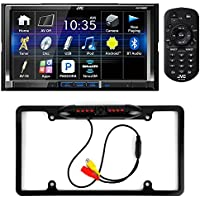 JVC KW-V420BT 7 Double DIN Touchscreen Bluetooth DVD/CD/AM/FM In-Dash Car Stereo + Cache Night Vision Car License Plate Rearview Camera - Black CAM810B