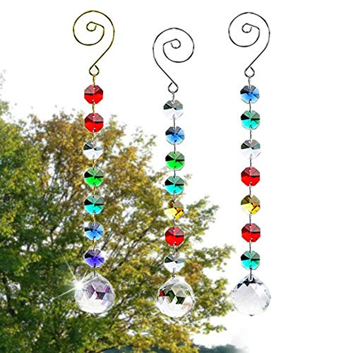 SunAngel Colorful Jewelry Crystals Pendants &Chandelier Suncatchers Prisms Hanging Ornament Octogon Chakra Crystal Pendants for Home,Office,Garden Decoration (3 Pack+Hook)