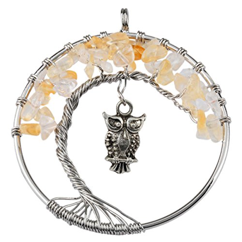 (SUNYIK Citrine Tree of Life Pendant,Tumbled Stone Wire Wrapped Owl Necklace,Healing Chakra )
