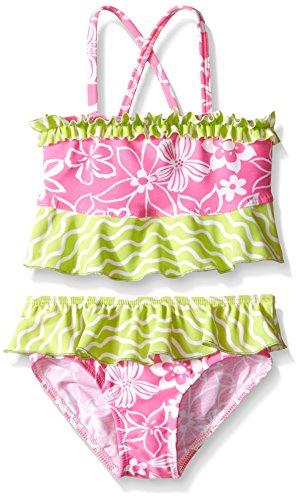 Flap Happy Little Girls UPF 50+ Hana Crossback 2-Piece Swimsuit, Hula Hibiscus, 2