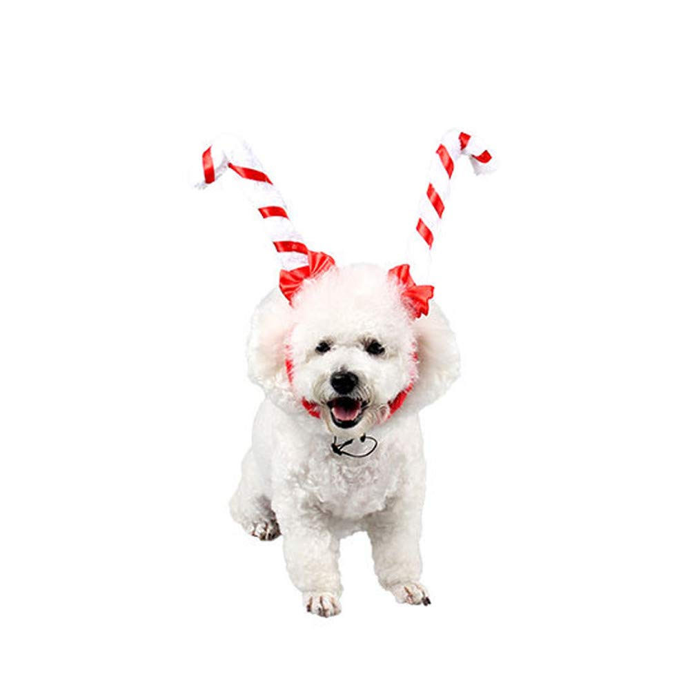 Pet Christmas Headband,FTXJ Pet Christmas Moose Antlers Headband Dogs Cats Adjustable Hat Cosplay Party Gift (25cm, White)