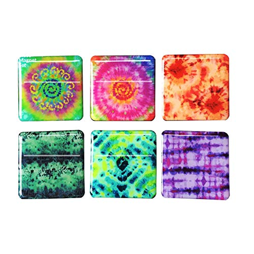 Tina's Essentials - Heavy Duty Magnets for Home, Office, School, or Leisure Setting - Colorful Tie Dye Design, 6 Piece Set of Square - Square Tin