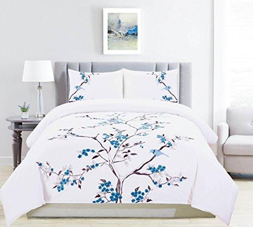 Superior 100% Embroidered Cotton Cherry Garden Duvet Cover 3-Piece Bedding Set; Sky Blue - Full/Queen -