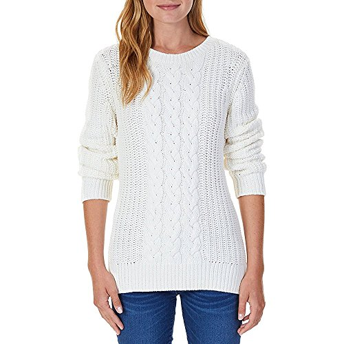 Nautica Women's Single Cable Knit Tunic Sweater (Marshmallo, - Cable Knit White Sweater