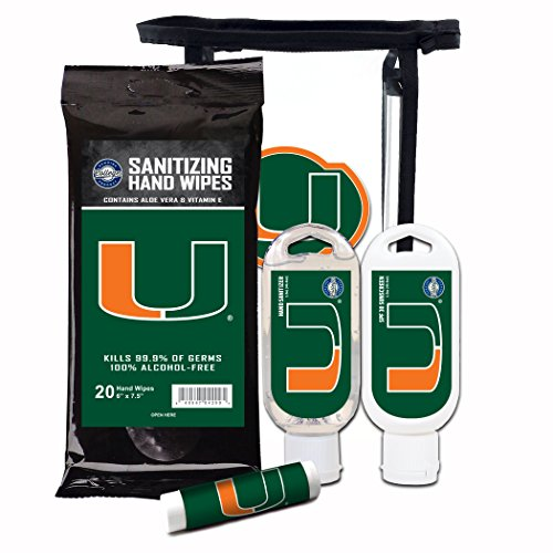 Worthy Promotional NCAA Miami Hurricanes 4-Piece Premium Gift Set with SPF 15 Lip Balm, Sanitizer, Wipes, Sunscreen