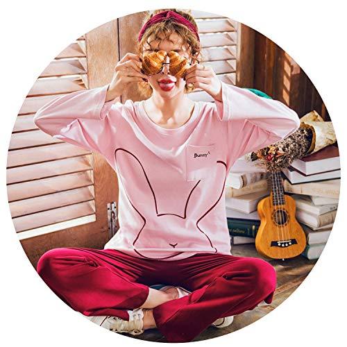 2018 Autumn Pure Cotton Women Pajamas Long Sleeve Wide-Legged Pants Nightgowns Sleep Lounge 3XL Plus Size,4,M (Pants Womens Polypro)