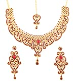 Touchstone New Indian Bollywood Fine Filigree Red Faux Ruby Grand Bridal Jewelry Necklace Set in Antique Gold Tone for Women.