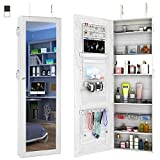 FDegage Jewelry Cabinet Lockable Wall Door Mounted Jewelry Armoire Storage Organizer with Full Length Mirror Valentine's Day Gift