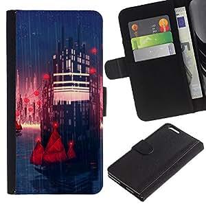 KLONGSHOP // Tirón de la caja Cartera de cuero con ranuras para tarjetas - Sci Fi City - Apple Iphone 6 PLUS 5.5 //