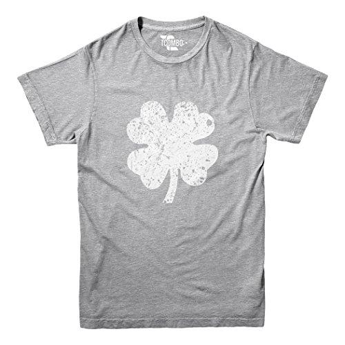 Tcombo Distressed Irish Shamrock - Clover- ST Patricks Day Gift Youth Big Kid T-Shirt (Light Gray, (Irish Shamrock Light T-shirt)