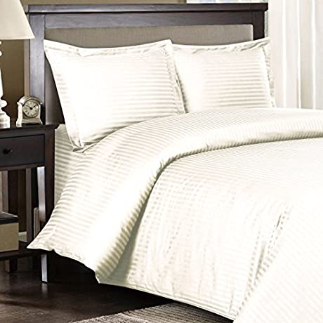 Ultra Soft Exquisitely Smooth Genuine 100 Plush Cotton 1000 Thread Count Bed In A Bag Lavish Sateen Stripe Bed Ensemble 8 Piece Full Size Bed In A Bag Stripe Ivory