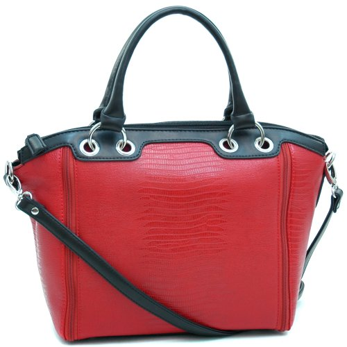 Dasein Women's Matte Croco Leather Like Texture Tote Bag w/ Zipper-lined Accents -Red/Black
