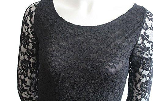 di 4 Abito 3 Estivi Vestiti Donna Nero Manica Cerimonia Vestito Elegante Pizzo Vintage aAfwqSE