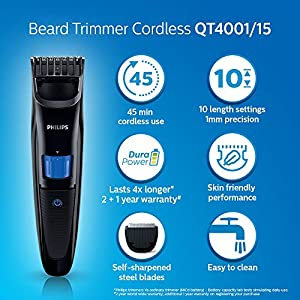 Best Philips QT4001/15 cordless rechargeable Beard Trimmer – In India 2020
