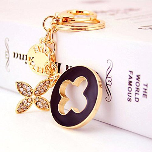 (Jzcky Shzrp Four-leaf Clover Crystal Rhinestone Keychain Key Chain Sparkling Key Ring Charm Purse Pendant Handbag Bag Decoration Holiday Gift)