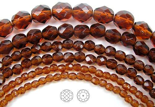4mm (102) Dark Topaz, Czech Fire Polished Round Faceted Glass Beads, 16 inch (Topaz Round Firepolish Glass Bead)