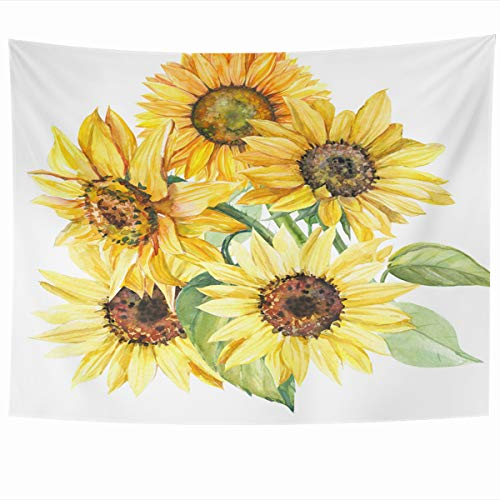 Ahawoso Tapestry Wall Hanging 80x60 Inches Leaf Brown Painting Bouquet Sunflowers Watercolor Botanical Vintage Hand Green Sun Autumn Bright Home Decor Tapestries Art for Living Room Bedroom - Bouquet Leaf Autumn