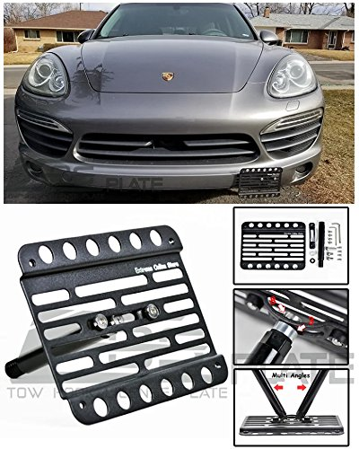 Extreme Online Store Replacement for 11-14 Porsche Cayenne | EOS Plate Version 1 Front Bumper Tow Hook License Relocator Mount Bracket Tow-131 (Mid Size) (Porsche Cayenne Front Bumper)