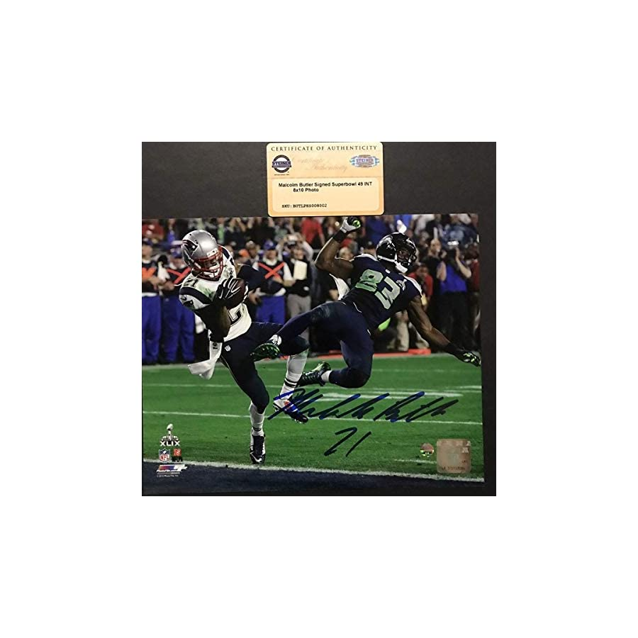 Autographed/Signed Malcolm Butler New England Patriots Super Bowl 49 GW INT 8x10 Photo Steiner Sports COA