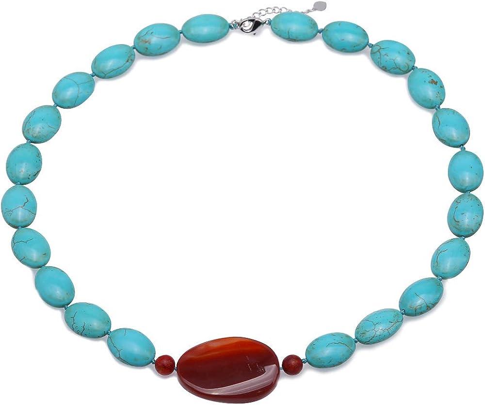 Collar de Turquesa JYX 13 × 18.5 mm Puntos Turquesa Irregulares Azules un Collar de Cadena única de 20 × 35 mm Colgante de ágata Collar de Perlas de Piedras Preciosas Hechas a Mano AAA